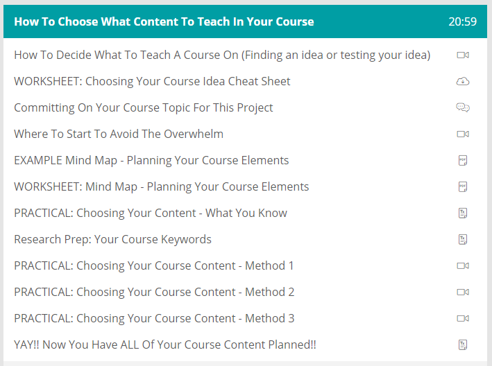 course content what content